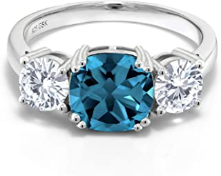 925 Sterling Silver 3-Stone Meghan Ring Cushion London Blue Topaz and Timeless Brilliant Created Moissanite (IJK) 1.00ct (DEW)