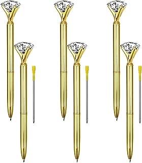 Onwon 6 Pieces Big Crystal Diamond Pens Gold Metal Ballpoint Pens & 3 Pieces Ballpoint Pen Refills in Black Ink