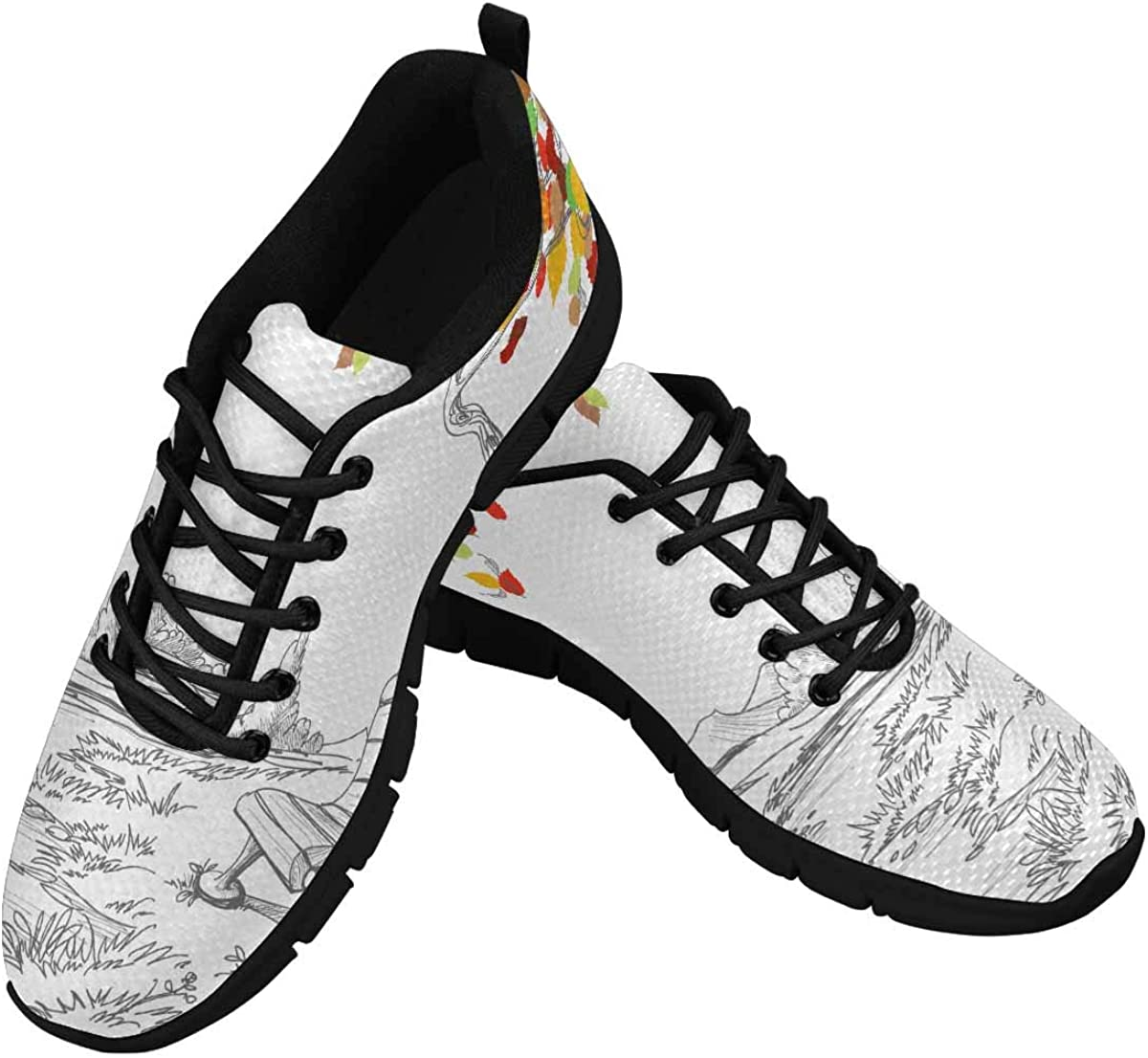 INTERESTPRINT Autumn Tree, Falling Leaves Women's Lace Up Running Comfort Sports Sneakers
