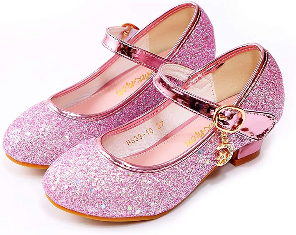 ALPHELIGANCE Shoes Girls Sparkle Mary Jane Low Heel Shoes Princess Flower Wedding Party Dress Shoes