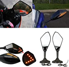 evomosa Universal Adjustable Hawk-eye Motorcycle Convex Rear View Mirror with Led Turn Signal Lights for Cruiser, Suzuki, Honda, Victory and More