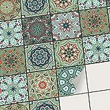 Sticker carrelage Autocollant Mural adhésif I Revêtement adhésif Cuisine et Salle de Bain - mosaique Carreaux de Ciment I Carrelage adhésif (10x10 cm I 54 - Pièces)