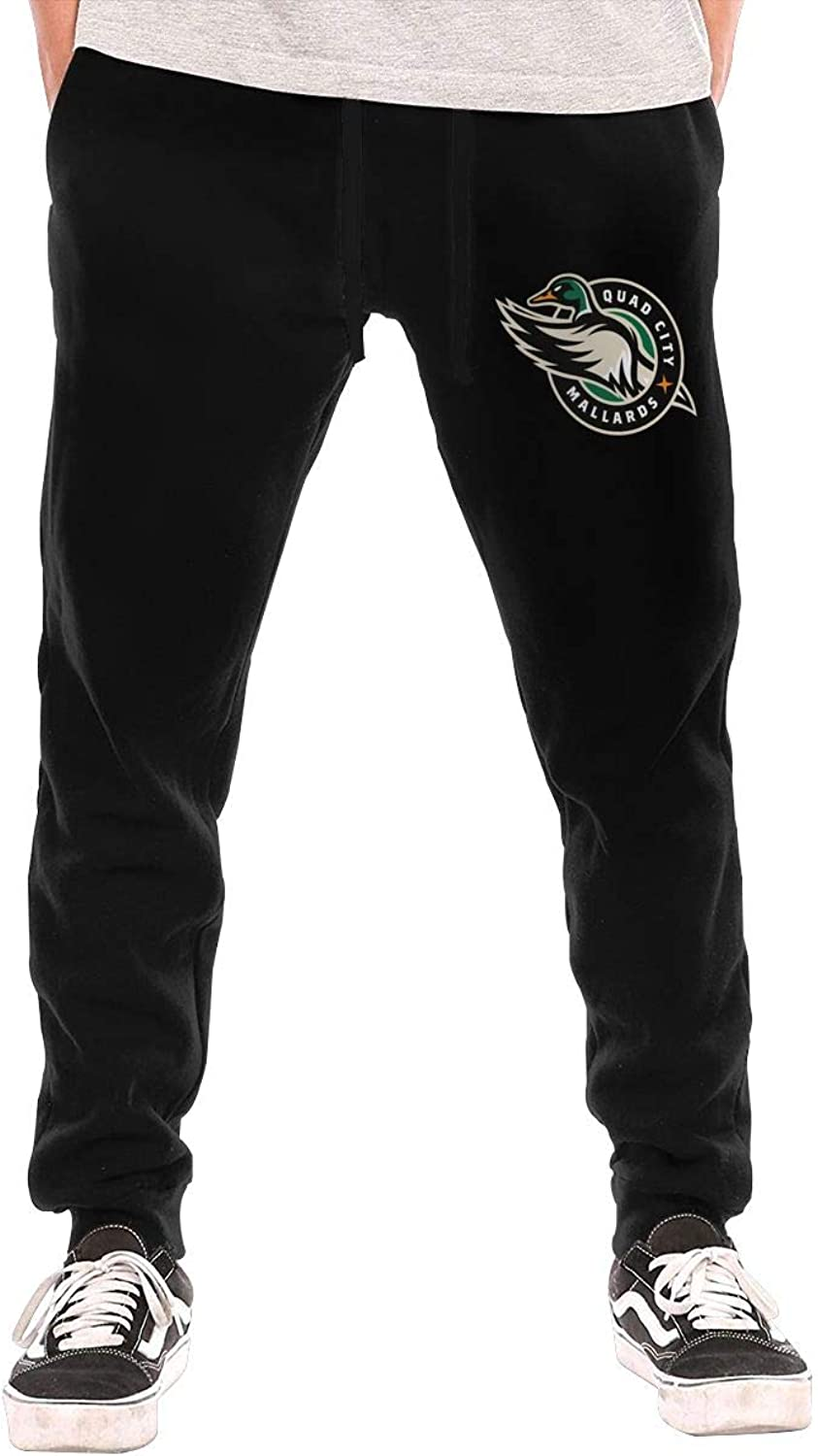 Thorea Men's Casual 2015HockeyQuadCityMallardsLogo Active Jogger Sweatpants Black