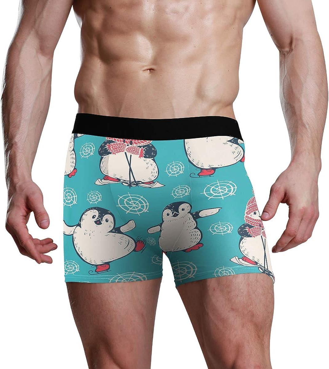 Mens Boxer Briefs Underwear Cute Penguin Snowflake Trunks Underwear Short Leg Boys