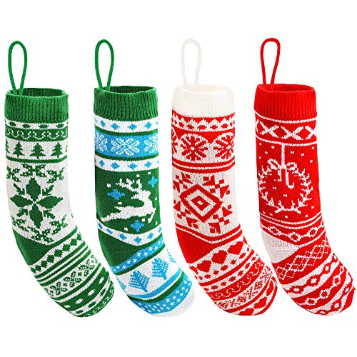 """JOYIN 4 Pack 18"""" Christmas Stockings, Large Size Rustic Cable Knit Xmas Stocking in Red & Green, for Family Holiday Season Decorations"""