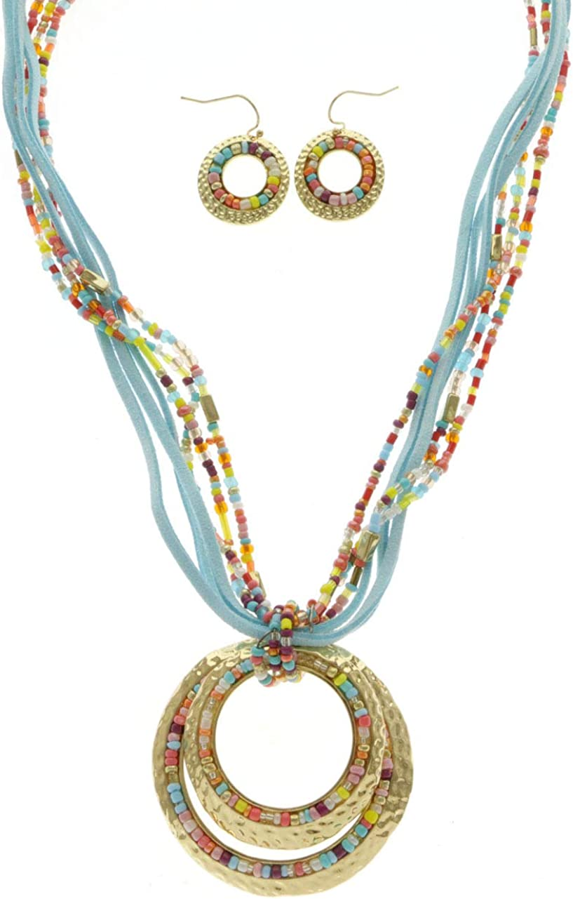 Erica Lyons Multicolored Bead Adjustable Necklace-Earring-Set Gold-Tone & Blue