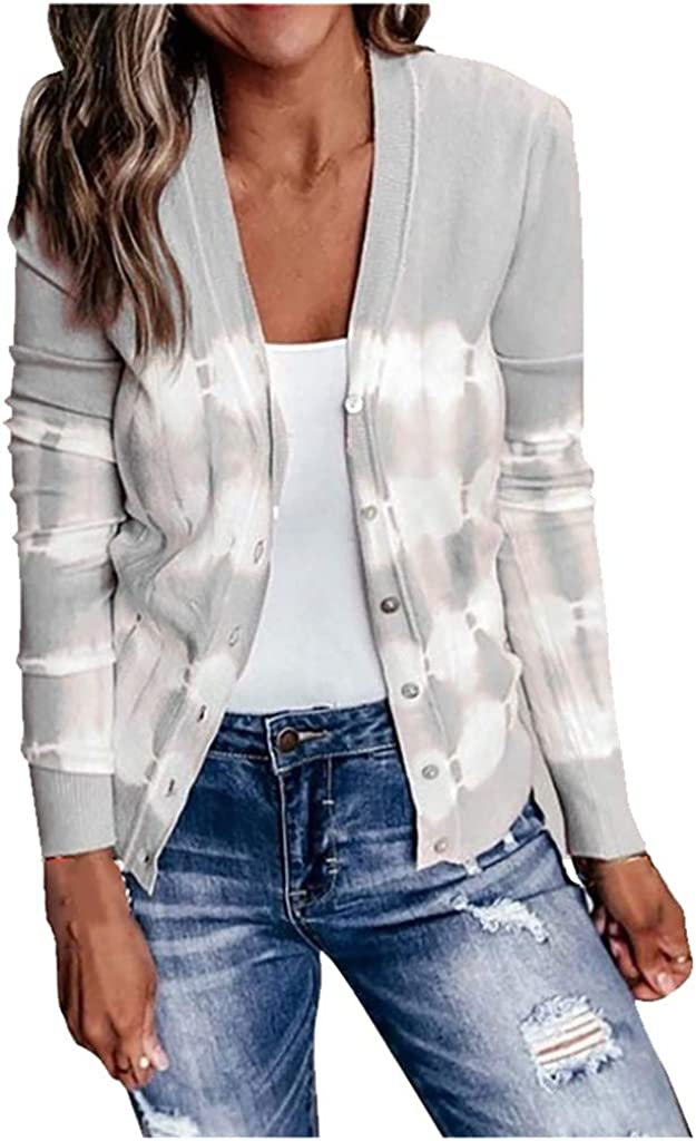 Forwelly Women's Fall Lightweight Cropped Cardigan Oversize Fashion Stripe Button up Jacket Casual Loose Coat