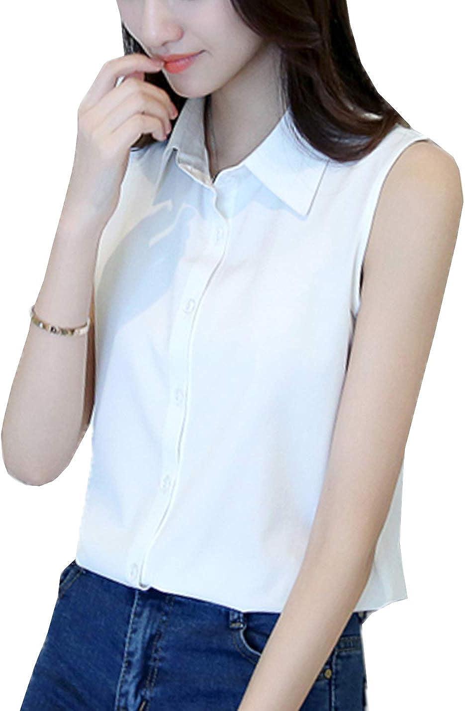 PAODIKUAI Women's Collared Sleeveless Tops Chiffon Casual Blouse Shirts Tank Tops