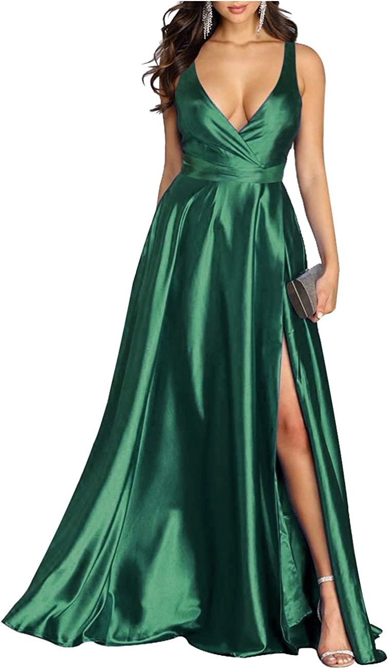 L'VOW Women's Sexy Satin Deep V Neck Sleeveless Wrap Maxi Backless Evening Cocktail Dress