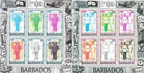 Barbade mer.-no.: 502-508 Feuille Miniature (complète.Edition.) 1980 Exposition philatélique (Timbres pour Les collectionneurs) Uniformes / Costumes