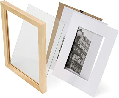 43e68391648f ONE WALL Tempered Glass 8x10 Picture Frame Solid Wooden Frame Set of 4 with  Mats for