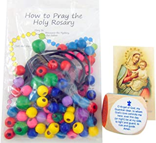 Catholic Childrens Gift Set Make Your Own Rosary Craft Kit and Prayer Cube and Holy Card