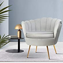 Armchair Lounge Chair Accent Armchairs Retro Single Sofa Velvet Shell Back Seat (Grey)