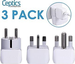 Ceptics African Travel Adapter Set 2 in 1 USA to Africa, S. Africa, Nigeria, Ghana, Uganda (Type M, E/F, Type G) - 3 Pack (Does Not Convert Voltage)