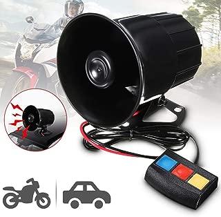 Ugthe 12V 30W Car Motorcycle 3 Sounds Siren Horn Alarm Loud Speaker Electronic Bell - Black
