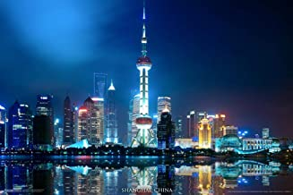 Pyramid America Shanghai China Skyline City View at Night Oriental Pearl Tower Color Photograph Art Laminated Dry Erase Sign Poster 12x18