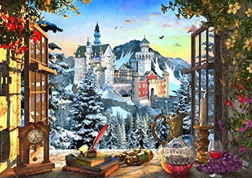 Legpuzzels Voor Kinderen 1500 Stukjes, Mountain Castle, Scenery Buiten Het Raam, 1500/1000/500 Stukjes, Brain Challenge Jigsaw Puzzle Games