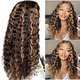 Highlights Human Hair Lace Front Wigs Ombre Brown to Blonde Curly Human Hair Wig Brazilian Virgin Hair T Part 13x1 Glueless Deep Wavy Lace Wig Pre Plucked Hairline for Women 24inch 150% Density