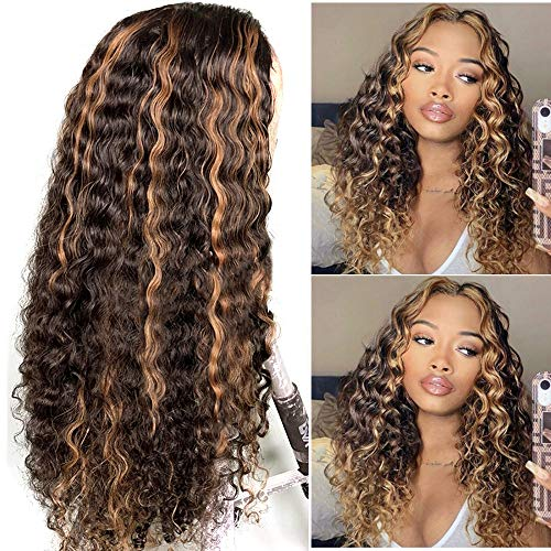 Curly Lace Front Wig Human Hair Highlights Ash Brown to Golden Blonde Straight Remy Deep Curly Human Hair Wigs Pre Plucked Hairline Middle Part 13x1 Deep Part Lace Wigs for Women 22' 150% Density