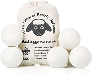 Budieggs Wool Dryer Balls Organic XL 6-Pack, 100% New Zealand Chemical Free Fabric Softener for 1000+ Loads, Baby Safe & H...