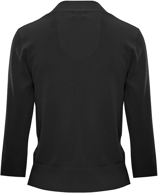 Women's Knit Cropped Sweater Bolero Cardigan Three Quarter Sleeve