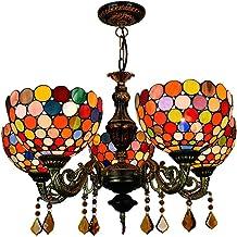 Chandelier European and American Creative Retro Tiffany Color Glass Bar Restaurant Living Room Chandelier Bohemian 5 Head ...