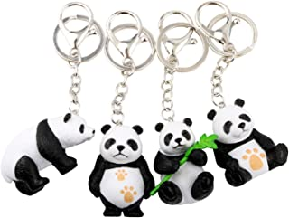 NN-BH Keychain Panda Keychain Men's and Women's Car Keys, Bags,Pendants,Birthday Gifts for Men and Women Party Gifts Three-dimensional cartoon panda four-piece