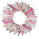 10M/32 Feet 36 PCS Lovely Triangle Bunting Flag Banner Pennant Garland Fabric Flags Double Sided Vintage Cloth Shabby Chic Decoration for Wedding, Birthday Party, Bedrooms (36pcs Pink)