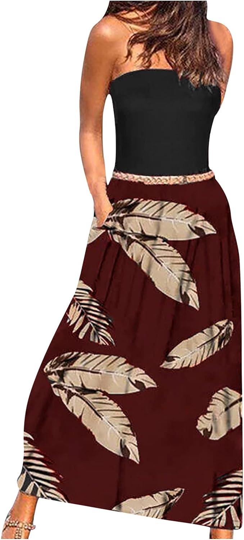 MYDANRAN Strapless Dress for Women Summer Boho Floral Print Casual Sleeveless Fitted Loose Flowy Hem Maxi Dresses