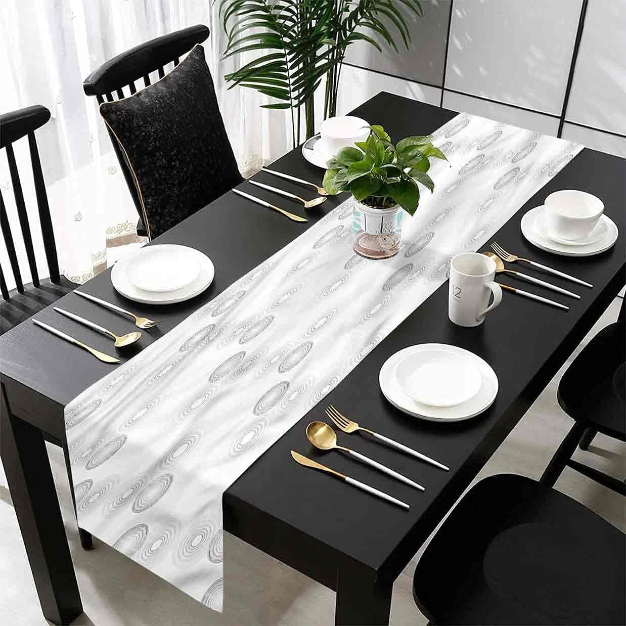 Hiiiman Grey Table Runner Bullseye Greyscale New arrival Circles Max 42% OFF Decoration