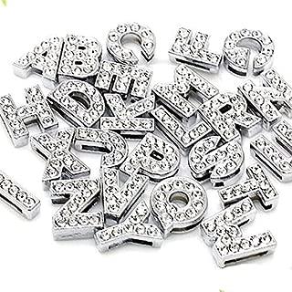 52pcs A-Z Full Rhinestones 8mm Slide Alphabet Letters for 8mm Slide Wristbands/Bracelets,Jewelry Making Charms