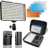 SAMTIAN Luz de Vídeo LED 160 Unidades, 3200/5500k, para Cámaras Réflex Canon, Nikon, Pentax, Olympus, Panasonic, Samsung, JVC DV, videocámaras NP-F970, F770, F570 y F550