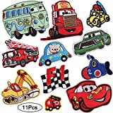 Kids Car Iron on Patches 11 Pcs Vehicle Embroidered Decorative Patches Cute Sew on Applique Stickers for Repairing Holes Hats Jackets Bags Vests Jeans Shoes Clothing Garment Decorations Accessories