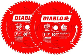 """Diablo 7-1/4"""" x 60-Tooth ATB Ultra Finish Saw Blade with 5/8"""" Arbor (2-Pack)"""