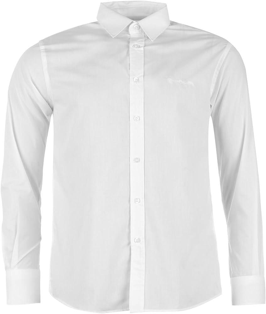 Pierre cardin, camicia manica lunga da uomo, 65% poliestere, 35% cotone, bianca