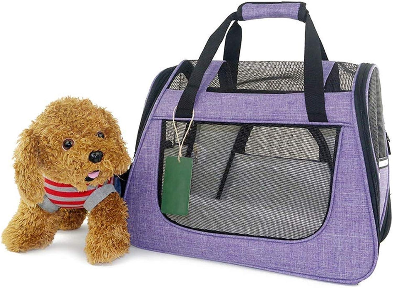 BeTti AntiScratch Summer UltraBreathable Portable Pet Bag Portable Cat Bag to Take Out Pet Bag Teddy Dog Shoulder Bag (color   Purple)