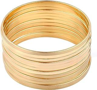 Gold Multibangle Set of 12 Plain Matte Glossy Bangle...