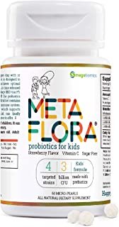 METAFLORA Kids Probiotics - Vitamin C – 60 CT - Sugar Free - Strawberry Flavor - Patented Time Release Pearl Tablets