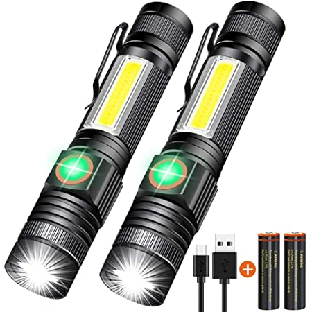 COB LED Work Light 3 Modes USB Rechargeable T6 Ultra Bright Pocket Sized Torch Zoomable Light Flashlight Lamp for Camping Hiking Fishing Emergency LED Tactical Flashlight