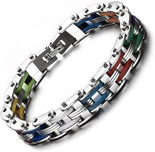 Transgender Pride Stainless Steel Bracelet (Bike Gear Chain Wristlet) - LGBT Pride Wristband with Transgender Flag Colors
