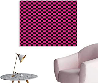 Anzhutwelve Hot Pink Photo Wall Paper Old Fashioned Gingham Checks in Vibrant Colors Modern Display Geometric Simple Wall Poster Magenta Black W28 xL20