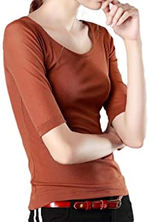Energy Womens Solid-Colored Basic Blouse Half Sleeve Round Neck T-Shirt