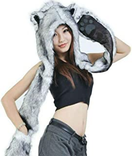 Grey Gray Wolf Anime Faux Animal Hood Hoods Mittens Gloves Scarf Spirit Animal's Paws and Ears