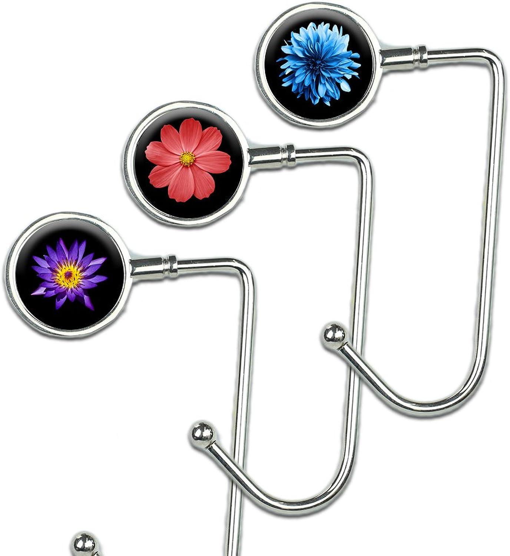 Cheliz Purse Hook Set of 3  Hanger Table Hanger Holder Womens Bag Storage (long3oneflower)