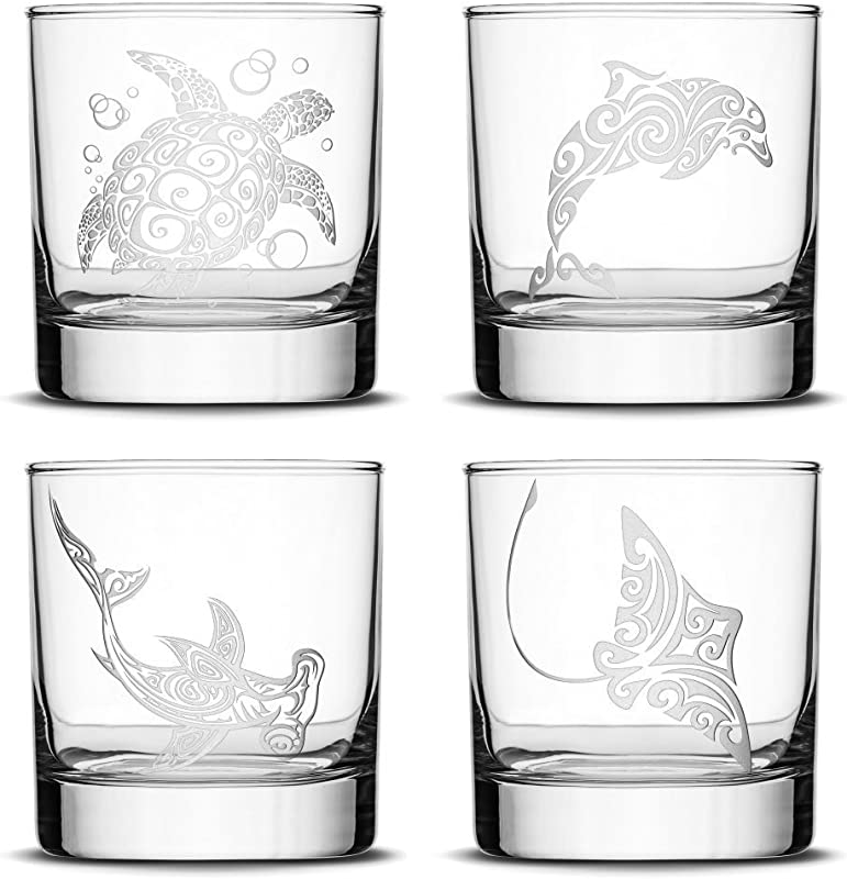 Integrity Bottles Set Of 4 Premium Sea Animal Whiskey Glasses Sea Turtle Dolphin Hammerhead Shark Eagle Ray Made In USA Hand Etched Tribal Design 10oz Rocks Glasses Sand Carved