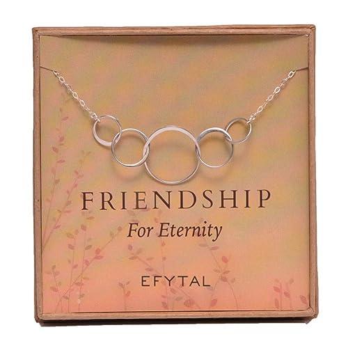 EFYTAL Five Friend Necklace 5 Sterling Silver Friendship Interlocking Infinity Circles Gift 4 Best Friends Group
