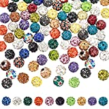 PAGOW 100 Pieces Rhinestone Clay Beads, Mixed Colors Pave Disco Ball Clay Beads with Rhinestones, Polymer Clay Crystal Round Rhinestone Beads Charms for Jewelry Making DIY Necklace Bracelet