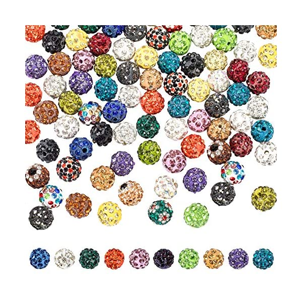 PAGOW 100 Pieces Rhinestone Clay Beads