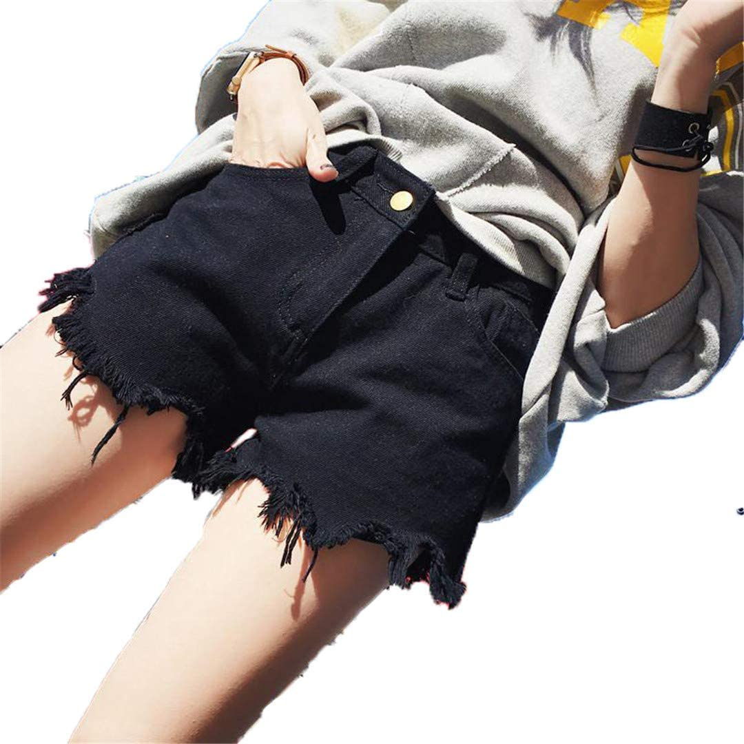 Summer Women Vintage Hole Black Denim Shorts Casual Wide Leg Jeans Shorts