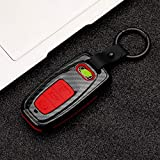 Beerte Key Fob Cover fit for Audi A3 A4 A5 A6 A7 A8 S5 Q3 Q5 Q7 TT Key Shell 3 Button Keyless Entry Remote Control Smart Car Key Fob Protective Case(Red Carbon Fiber)